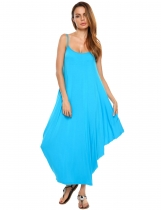 Light blue Spaghetti Strap Solid Loose Maxi Dress