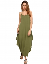Army green Spaghetti Strap Solid Loose Maxi Dress