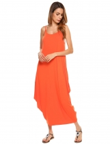 Orange Spaghetti Strap Solid Loose Maxi Dress
