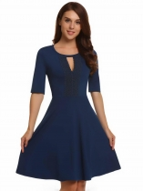 Navy blue Lace Keyhole Half Sleeve Fit and Flare Dress