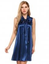Dark blue Sleeveless Satin Glitter Bow Tie-Neck Shift Dress