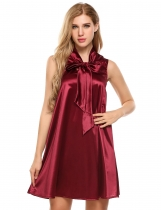 Wine red Sleeveless Satin Glitter Bow Tie-Neck Shift Dress