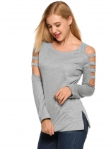Dark gray Solid Cut-out Long Sleeve Loose Personality Tops
