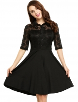 Black Lace Patchwork Button-Down Swing Dress