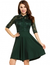 Dark green Lace Patchwork Button-Down Swing Dress