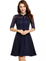 Navy blue Lace Patchwork Button-Down Swing Dress