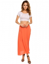 Orange High Waist Solid Chiffon Maxi Pleated Skirt