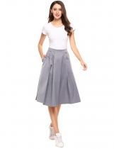 Grey High Waist A Line Retro Style Pleated Solid Skirt