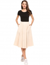 Nude High Waist A Line Retro Style Pleated Solid Skirt