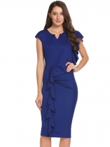 Mujeres Ruffles Cap Sleeve Draped Partido Business Bodycon lápiz vestido