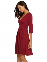 Wine red Surplice Neck 3/4 Sleeve Ruched Waist Solid A-Line Dress