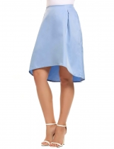 Blue Solid Irregular Hem Retro Style Back Zipper Skirt