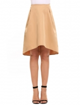 Khaki Solid Irregular Hem Retro Style Back Zipper Skirt
