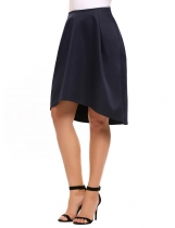 Navy blue Solid Irregular Hem Retro Style Back Zipper Skirt
