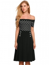 Noir Women Off Shoulder Short Sleeve Dots Fit et Flare Cocktail Party Dress