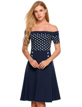 Navy blue Off The Shoulder Dots Buttons Side Cocktail Dress