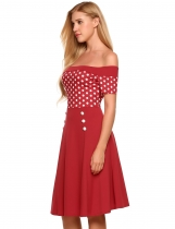 Wine red Off The Shoulder Dots Buttons Side Cocktail Dress