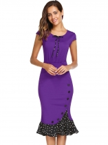 Purple Cap Sleeve Button Dot Patchwork Mermaid Dress