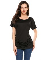 Black Solid Pocket O-Neck Short Sleeve Pullover T-Shirts