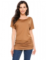 Coffee Solid Pocket O-Neck Short Sleeve Pullover T-Shirts
