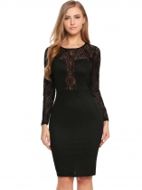 Women Sexy Long Sleeve Lace Patchwork O Neck Bodycon Cocktail Pencil Dress