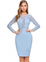 Sky blue Long Sleeve Lace Patchwork O Neck Dress
