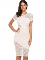 White Short Sleeve Lace Patchwork O Neck Bodycon Pencil Dress