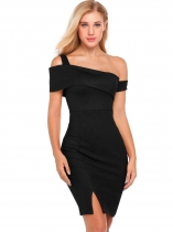 Black Solid Sleeveless One Shoulder Evening Bodycon Club Pencil Dress