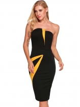 Black Sleeveless Patchwork Bodycon Dress