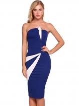 Dark blue Sleeveless Patchwork Bodycon Dress