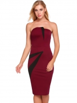 Wine red Femmes Sexy sans manches Patchwork bretelles Bodycon crayon cravate