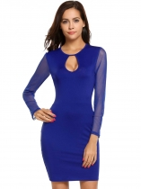 Royal Blue Mesh Patchwork Keyhole O Neck Short Dress