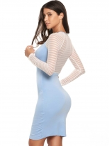 Sky blue Raglan Sleeve Striped Mesh Patchwork Bodycon Dress