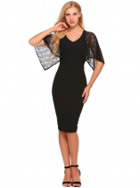 Black Cape Sleeve Lace Patchwork Pencil Dress