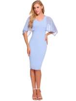 Baby Blue Cape Sleeve Lace Patchwork Pencil Dress