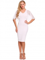 White Women Sexy Lace Shawl Patchwork V Neck Party Pencil Dress