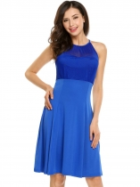 Royal Blue Sleeveless Mesh Patchwork Solid A-Line Dress