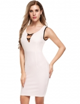 White Sleeveless V Neck Solid Bodycon Pencil Dress