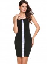 Black Sleeveless Patchwork V Neck Bodycon Pencil Dress