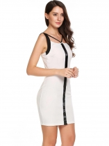 White Sleeveless Patchwork V Neck Bodycon Pencil Dress
