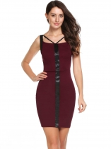 Wine red Sleeveless Patchwork V Neck Bodycon Pencil Dress