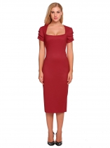 Wine red Square Neck Ruched Sleeve Solid Pencil Dress