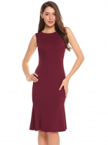 Wine red Sleeveless Solid Mermaid Bodycon Slim Dress