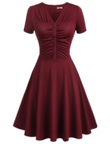 Dark red V-Neck Ruched Button Solid A-Line Dress