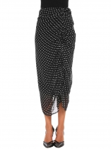 Black Mujeres Moda Pull-On Calf longitud Dot plisada falda