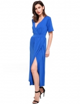 Blue Kimono Sleeve V Neck Side Split Solid Maxi Dress