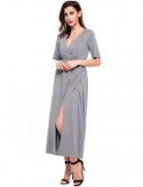 Grey Kimono Sleeve V Neck Side Split Solid Maxi Dress