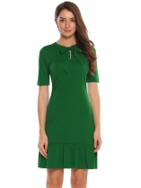 Green Bow Neck Solid Fishtail Dress