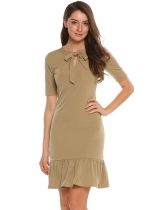Khaki Bow Neck Solid Fishtail Dress