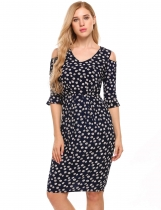 Dark blue V-Neck Cold Shoulder Floral Slim Fit Dress